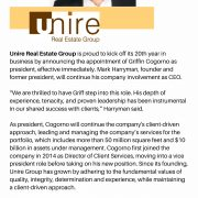 Unire Real Estate Group Celebrates 20 years, Appoints Cogorno as President